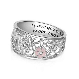 Love You to The Moon & Back Flower Band Ring 7 New